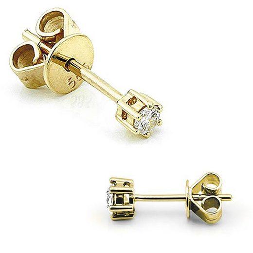 Stella-Jewellery Paar Ohrstecker »585er Gelbgold Diamanten Ohrstecker 6er Krappe«, Diamanten