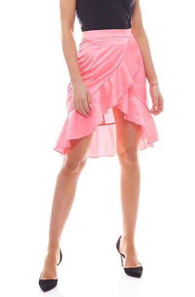 NA-KD Rüschenrock »NA-KD Fashion Neon Party-Rock femininer Damen Mini-Rock mit Rüschen Party-Rock Pink«