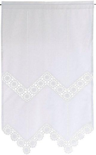 Gardine »Dufour«, HOSSNER - ART OF HOME DECO, Stangendurchzug (1 Stück), handgehäkelte Spitze, weiß, Baumwolle
