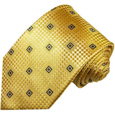Paul Malone Krawatte »Designer Seidenkrawatte Herren Schlips modern kariert 100% Seide« Schmal (6cm), gold 461