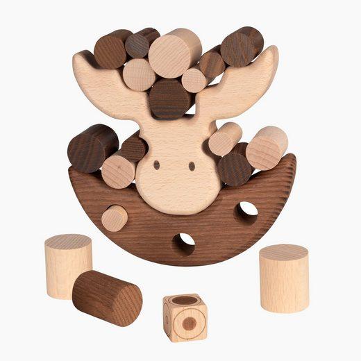 goki Spiel, Balancierspiel »GOKI NATURE BALANCIERSPIEL ELCH«, Dieser schaukelnde Elch ist ein Balancierspiel aus naturbelassenem Holz von goki nature.