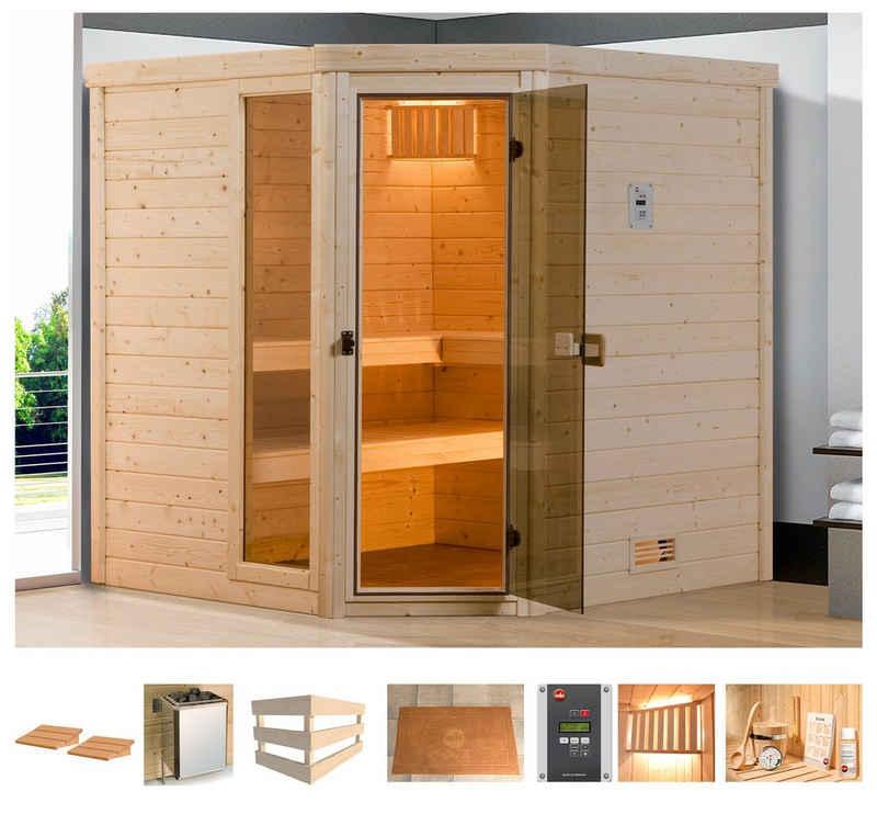 weka Sauna »Arendal 1«, BxTxH: 198 x 181 x 205 cm, 45 mm, 7,5 kW Bio-Kombiofen mit ext. Steuerung
