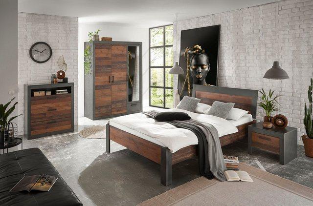 Schlafzimmer Sets - Home affaire Schlafzimmer Set »BROOKLYN«, (Set, Einzelbett mit Holzkopfteil, Nachtkommode, Kleiderschrank 3 trg., Kommode), in dekorativer Rahmenoptik  - Onlineshop OTTO
