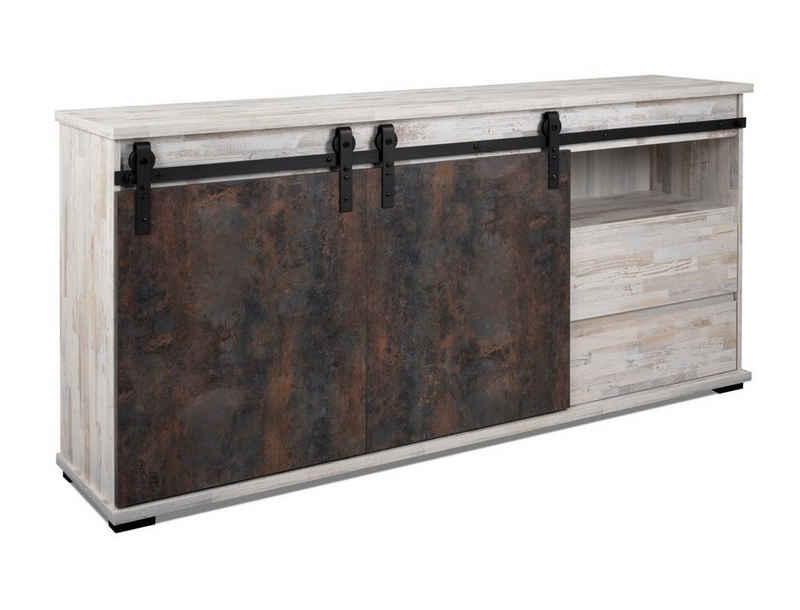expendio Sideboard »Salvo 51A«, Aratinga Kiefer / Na Pali 180x87x40 cm mit Schiebetüren