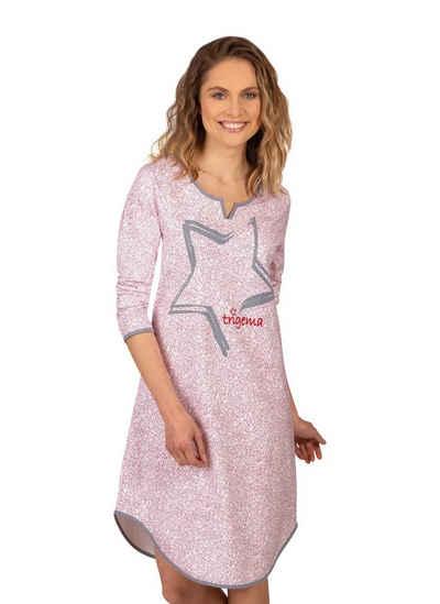 Trigema Nachthemd mit modernem Stern-Motiv
