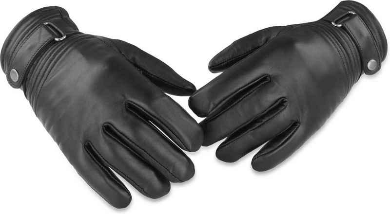 normani Multisporthandschuhe »Lederhandschuhe Tyylikäs« BW Bundeswehr gefütterte Lederhandschuhe für Damen und Herren mit Fleecefutter und Lederriemen am Handgelenk