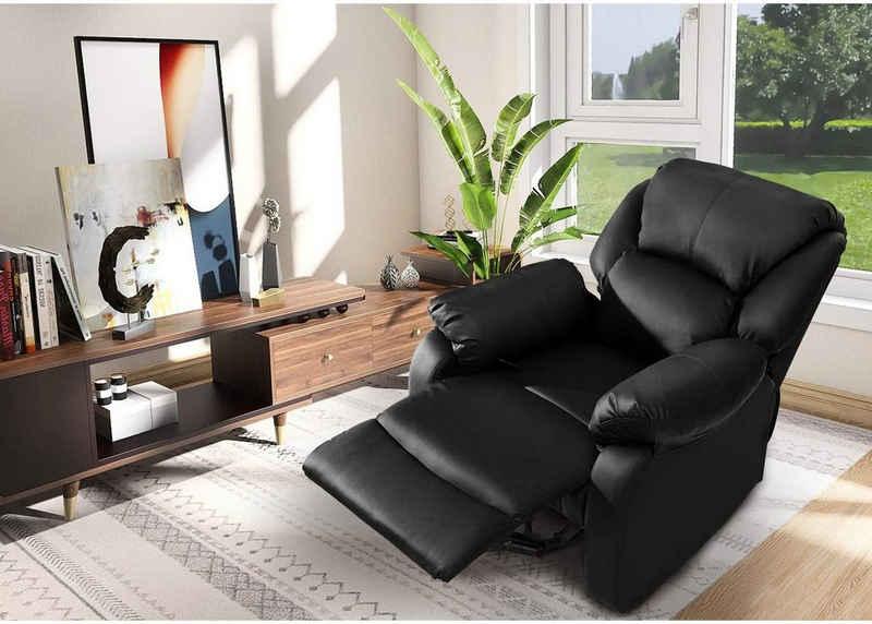 Merax Relaxsessel, Liegesessel Kunstleder Fernsehsessel mit Liegefunktion, belastbar bis 150 kg