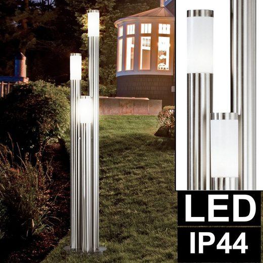 etc-shop LED Außen-Stehlampe, LED 25,5 Watt Steh Leuchte Außen Beleuchtung IP44 Edelstahl Säulen Stand Lampe