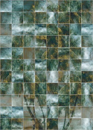 Komar Fototapete »Vliestapete Palm Puzzle«, glatt, bedruckt, gemustert, geometrisch, realistisch, 200 x 280 cm