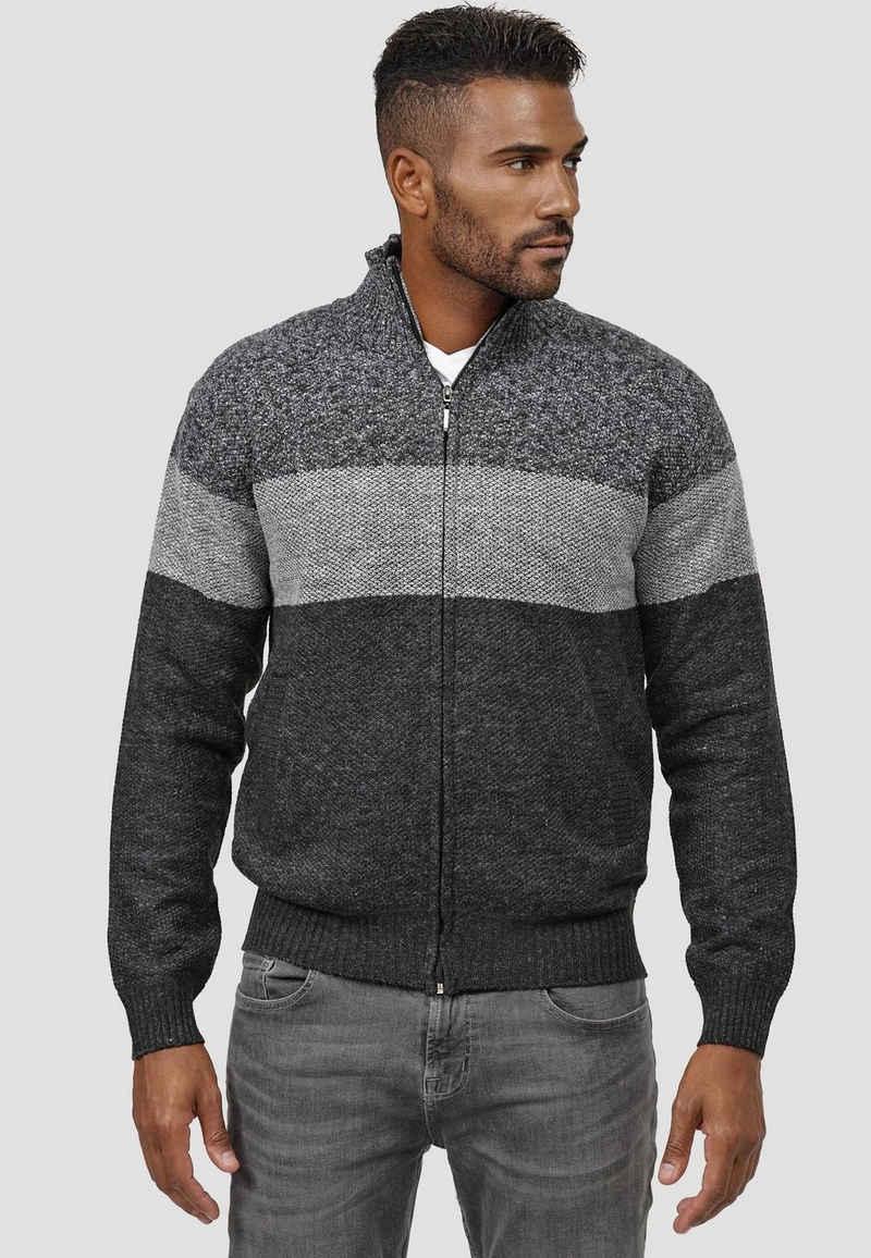 Max Men Cardigan »3786« (1-tlg) Herren Zip Strick Strickjacke Pullover Gefüttertes Longsleeve Sweatshirt