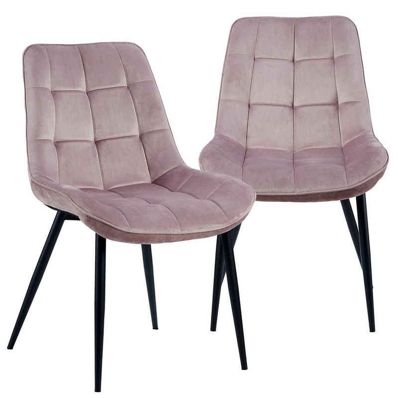TRISENS Polsterstuhl »Iris« (Set, 2 Stück), Samtstühle Stoffstühle Polsterstuhl Esszimmerstühle Küchenstühle aus Samt Metallbeine