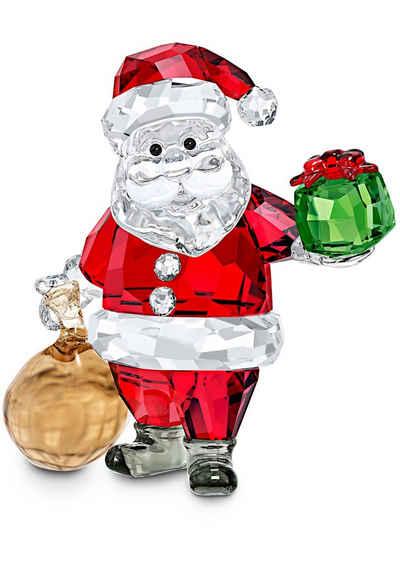 Swarovski Dekofigur »Weihnachtsmann mit Geschenkesack, 5539365« (1 Stück), Swarovski® Kristall mit schwarzem Emaille