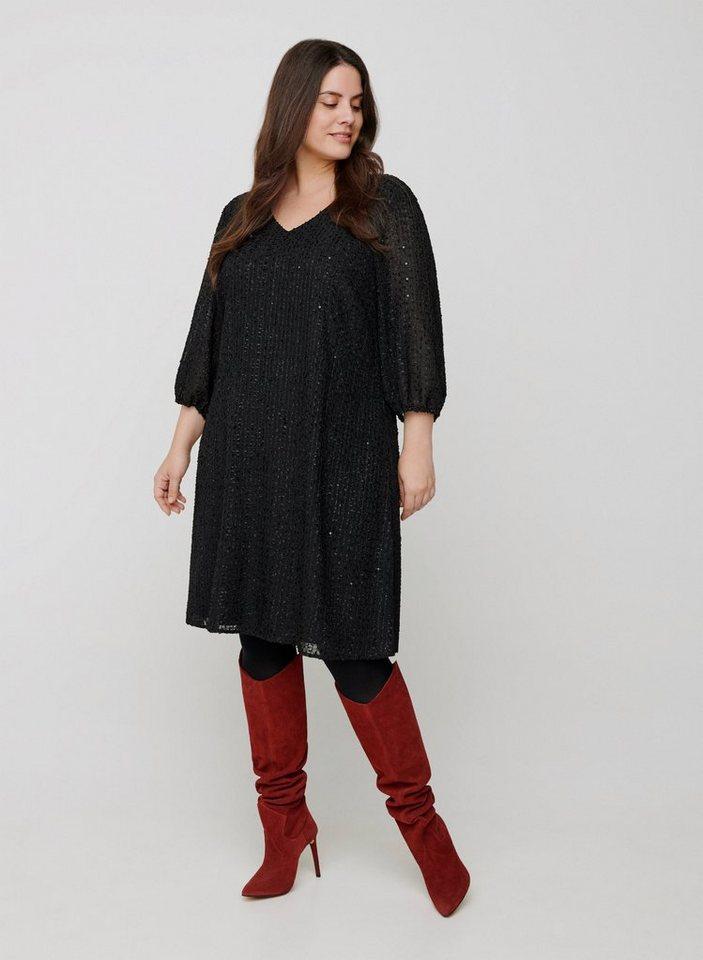 Festtagsmode - Zizzi Abendkleid Große Größen Damen Kleid mit 3 4 Ärmeln, V Ausschnitt und Pailletten ›  - Onlineshop OTTO