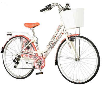 breluxx Cityrad »28 Zoll Damenfahrrad Venera Fashion Warm Coral Citybike mit Korb + Licht, Retro Bike«, 6 Gang Shimano Tourney Schaltwerk, Kettenschaltung
