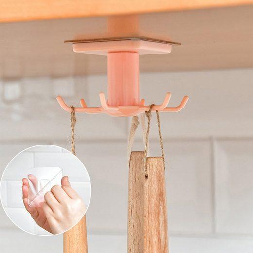Masbekte Hängeregal »Haken«, Unter Regal Hakenhalter, 360 Grad Drehbarer, Küchenschrank Badregal Organizer Hängen