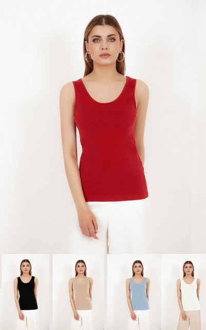 Vivienne Fashion Trägertop »Hochwertiger Damen Modal Stricktop mit Innenfutter« Innenfutter aus eigenem Stoff