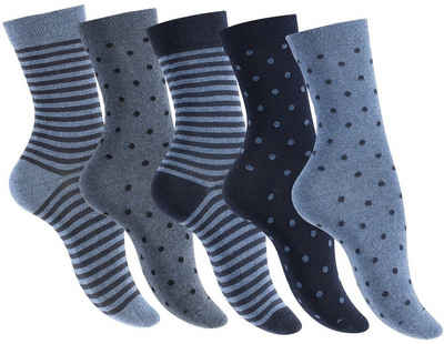 Reslad Langsocken »Damen Motiv Socken (10 x Paar) lange süße Söckchen« (10-Paar) Damensocken lang gestreift gepunktet