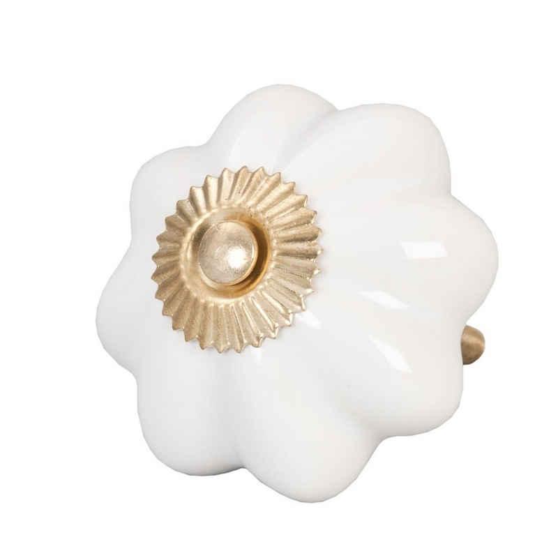 Clayre & Eef Möbelknopf »Schrankknopf AMSTERDAM weiß gold aus Keramik Schrankgriff Blume Blüte«