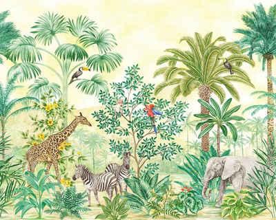 Komar Fototapete »Jungle Adventure«, glatt, bedruckt, Comic, Retro, mehrfarbig, BxH: 350x280 cm