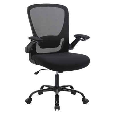 SONGMICS Chefsessel »OBN37BK«, Bürostuhl, hochklappbaren Armlehnen, Computerstuhl, 360° Drehstuhl, schwarz