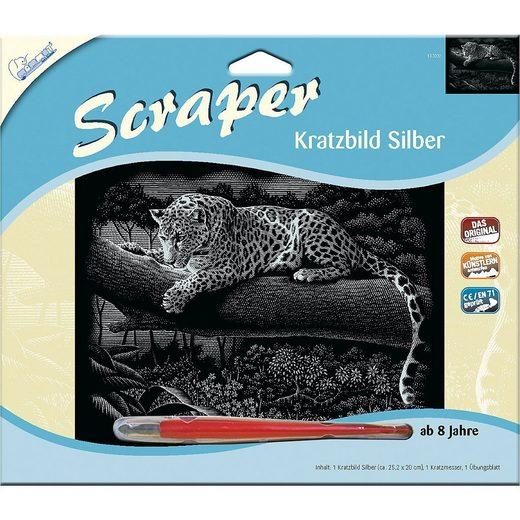 """MAMMUT Spiel und Geschenk Bild »Scraper Silber groß """"Querformat"""" - Leopard«"""