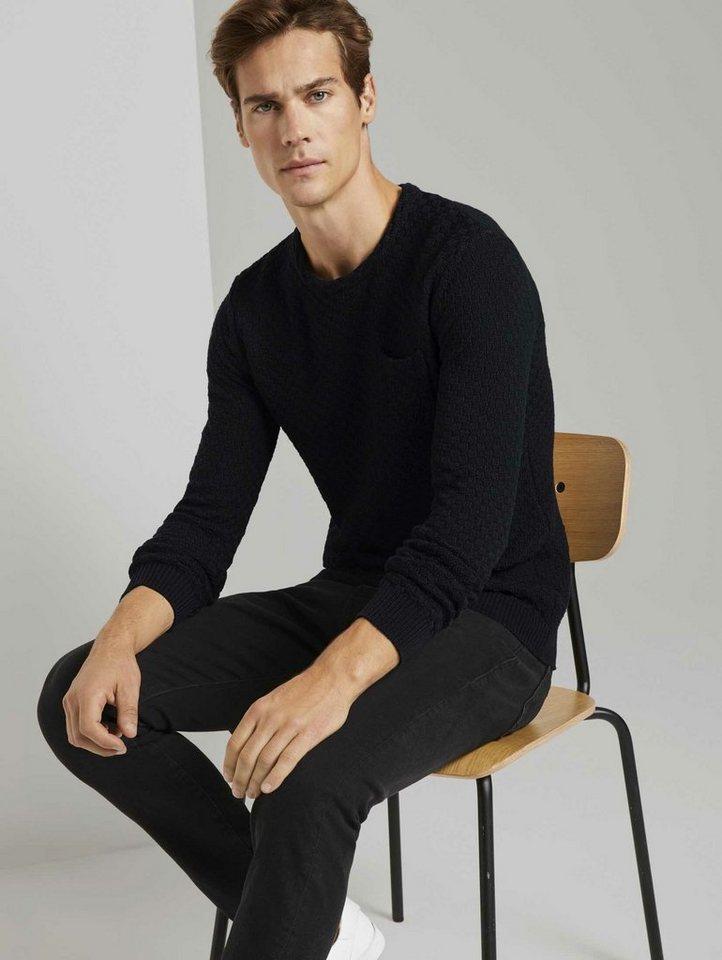 tom tailor -  Rundhalspullover »Strukturierter Strickpullover«