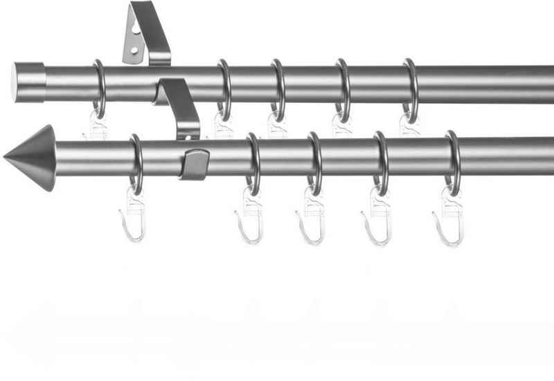 Gardinenstange »Gardinenstange Kegel, 20 mm, ausziehbar, 2 läufig 130 - 240 cm Chrom Matt«, LICHTBLICK ORIGINAL, Ø 20 mm, 2-läufig, ausziehbar, Zweiläufige Vorhangstange mit Ringen für Gardinen und Stores.