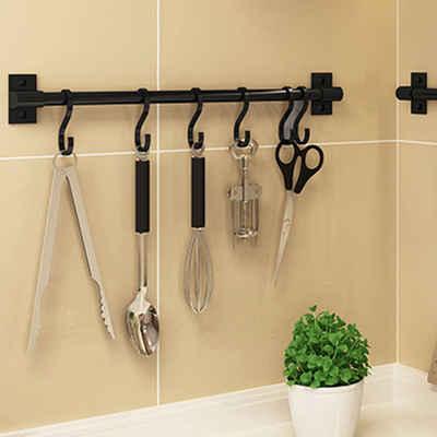SOSmart24 Hakenleiste »SOSmart24 PURE BLACK Hakenleiste Küchenleiste ohne Bohren aus Aluminium mit 8 Haken - Schwarz - NORDIC MINIMALISM - Für die Küche - Küchenreling Küchenutensilienhalter Hängeleiste Utensilienhalter«