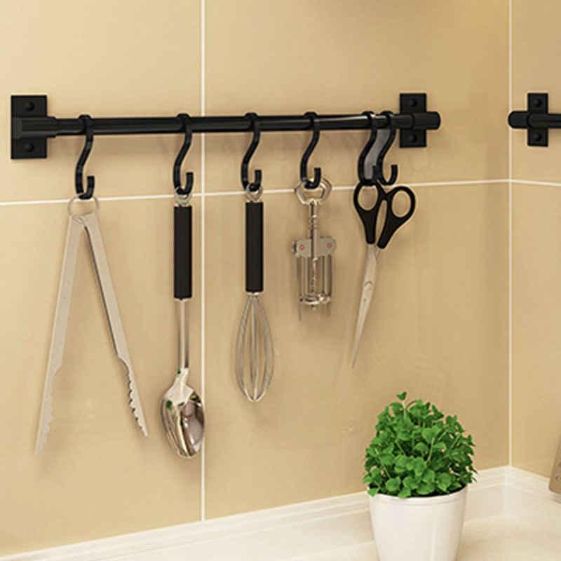 SOSmart24 Hakenleiste »SOSmart24 PURE BLACK Hakenleiste Küchenleiste ohne Bohren aus Aluminium mit 8 Haken - Schwarz - NORDIC MINIMALISM - Für die Küche - Küchenreling Küchenutensilienhalter Hängeleiste Utensilienhalter«, (1 St), Leicht zu reinigen