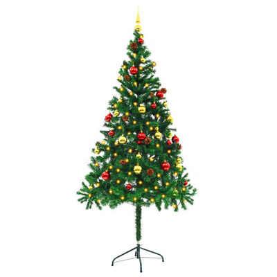 PHOEBE CAT Künstlicher Weihnachtsbaum, 180 cm Tannenbaum Christbaum mit Geschmückt Kugeln und LED Beleuchtung, Metallständer, Grün