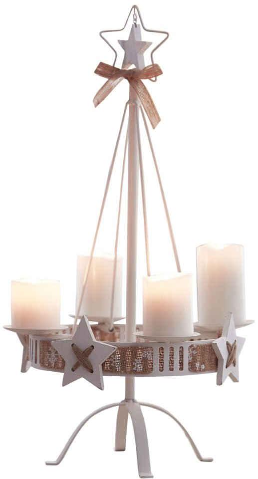Adventsleuchter (1 Stück), Höhe ca. 57 cm, dekorativer Kerzenständer mit Dekoband