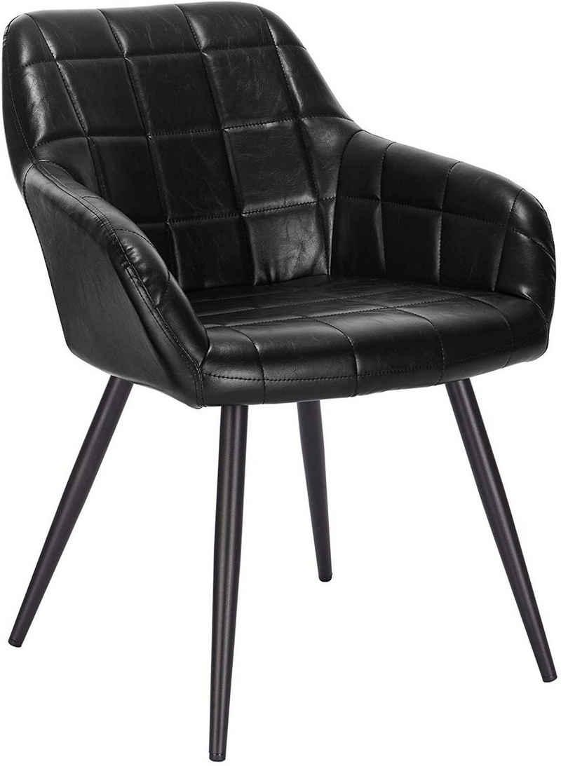 Woltu Esszimmerstuhl »BH224« (Set, 1 Stück), mit Armlehne, Sitzfläche aus Kunstleder, Metallbeine, Schwarz