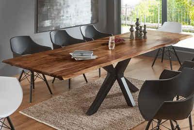 Junado® Baumkantentisch »Spencer«, Akazie Massivholz naturfarben 35mm natürliche Baumkante