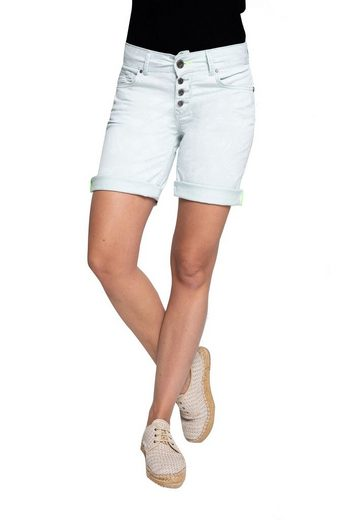 Coccara Shorts »Curly Button Shorts Non Denim« Coccara Damen Shorts Non Denim 5 Pocket Vintage Slim fit Curly Button