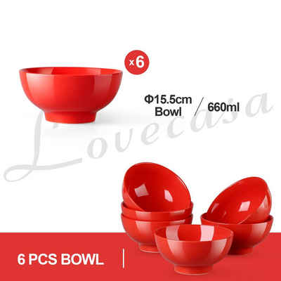 LOVECASA Kombiservice »Sweet« (6-tlg), Porzellan, 16-tlg kombiservice mit Speiseteller, Kuchenteller, Müslischalen und Kaffeebecher