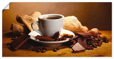 Artland Wandbild »Kaffeetasse Zimtstange Nüsse Schokolade«, Getränke (1 Stück), in vielen Größen & Produktarten - Alubild / Outdoorbild für den Außenbereich, Leinwandbild, Poster, Wandaufkleber / Wandtattoo auch für Badezimmer geeignet