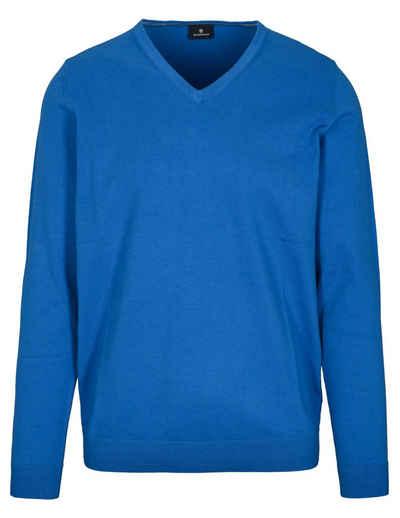 BASEFIELD V-Ausschnitt-Pullover mit Stickerei
