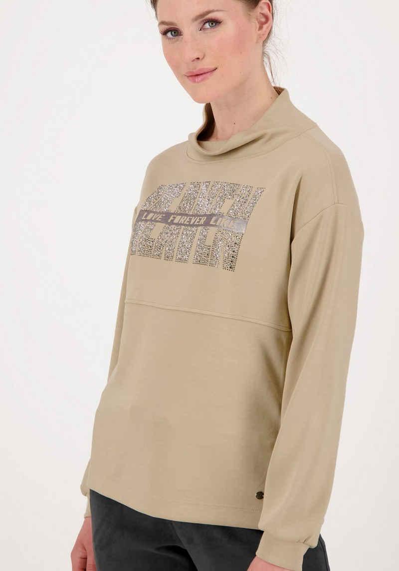 Monari Sweatshirt mit großem Strassschriftzug und Lackschrift