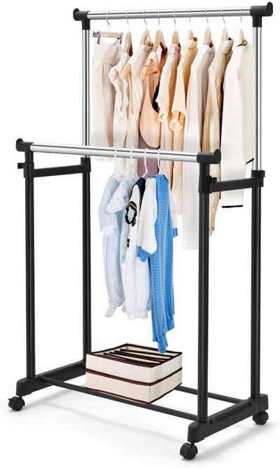 COSTWAY Kleiderständer »Garderobenständer«, mit Rollen, 86 x 43 x 94-168 cm