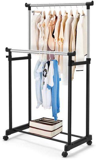 COSTWAY Kleiderständer, mit Rollen 86 x 43 x 94-168 cm