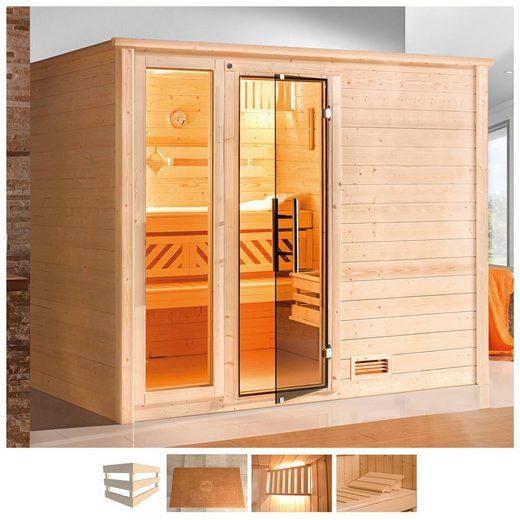 weka Sauna »Bergen«, BxTxH: 248 x 198 x 204 cm, 45 mm, 7,5 kW Bio-Ofen mit ext. Steuerung