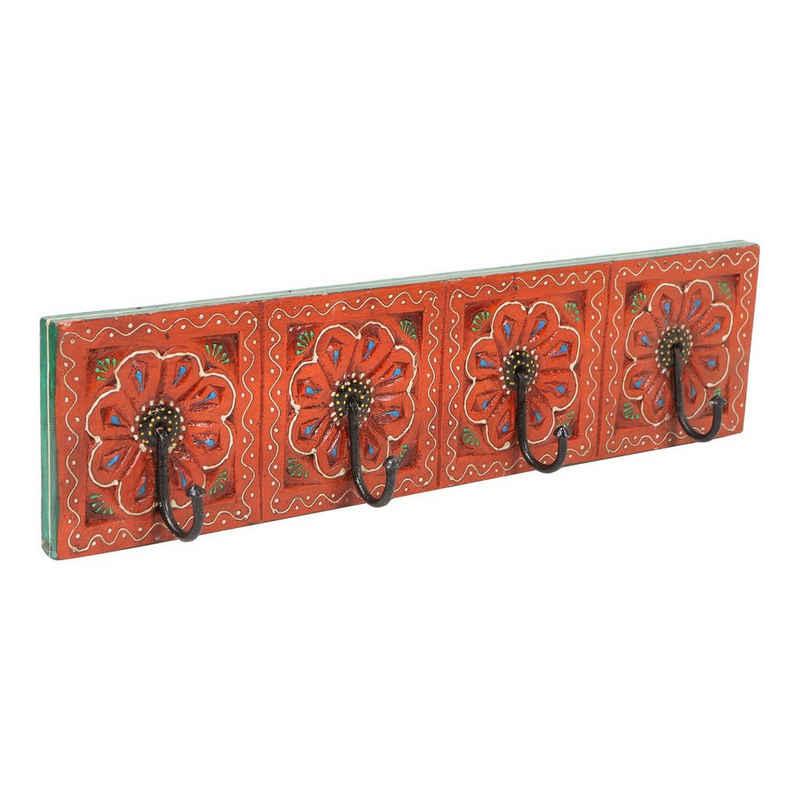 Casa Moro Garderobenleiste »Orientalische Kleiderhaken Antara A handbemalte Hakenleiste mit 4 Haken 46x6x11,5 cm BxTxH aus Massiv Holz, Wandgarderobe in schönen Blumenmustern, MA13-04-A«