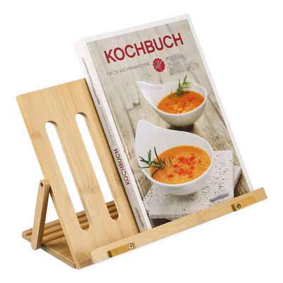 relaxdays Kochbuchhalter »Buchständer aus Bambus«