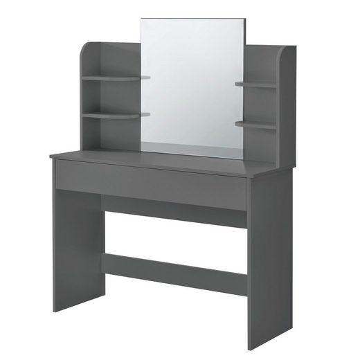 en.casa Schminktisch, »Eda« Frisierkommode mit Schublade und Spiegel 139,5x108x40cm dunkelgrau