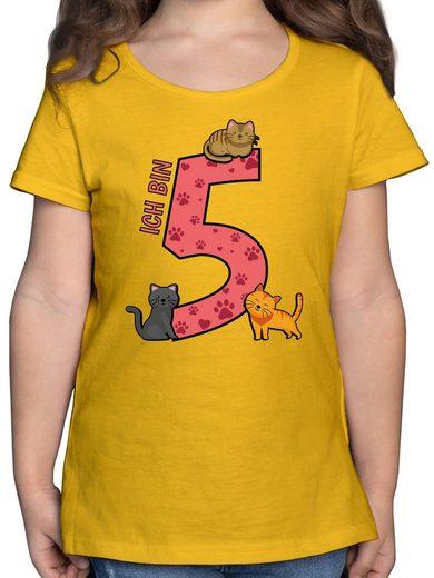 Shirtracer T-Shirt »5. Geburtstag Katzen - Geburtstag Kind - Mädchen Kinder T-Shirt - T-Shirts« zum 5 geburtstag mädchen