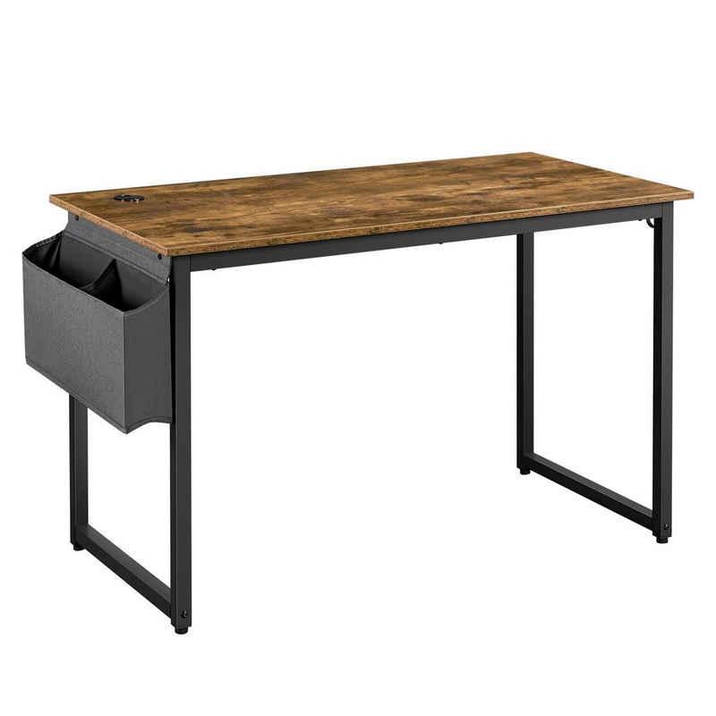 Yaheetech Computertisch, Schreibtisch, Bürotisch im Industrie-Design, Homeoffice, platzsparend für Arbeitszimmer Wohnzimmer, vintagebraun-schwarz