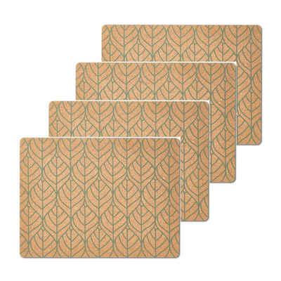 Platzset, »Platzset Kork, 4 Stück Graphic Leave grün«, Neuetischkultur, (4-St)