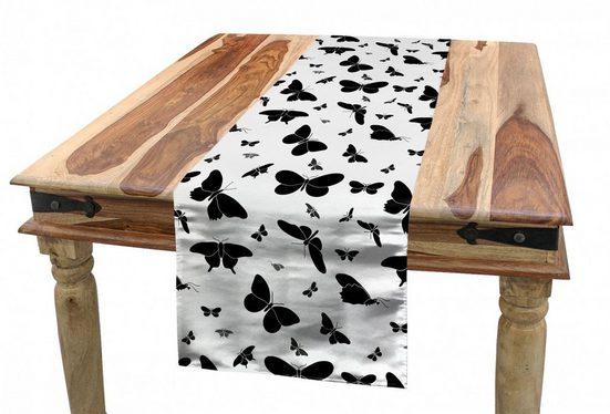 Abakuhaus Tischläufer »Esszimmer Küche Rechteckiger Dekorativer Tischläufer«, Schmetterling Monochrome Bug Entwurf