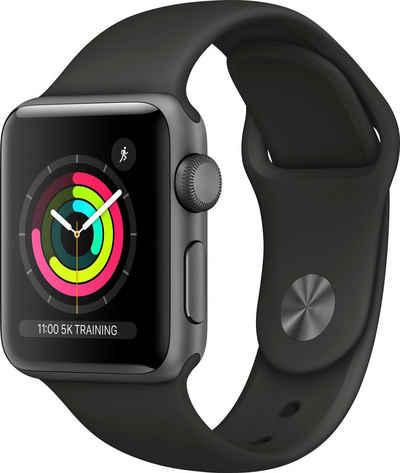 Apple Series 3 GPS, Aluminiumgehäuse mit Sportarmband 38mm Watch (Watch OS 5), inkl. Ladestation (magnetisches Ladekabel)