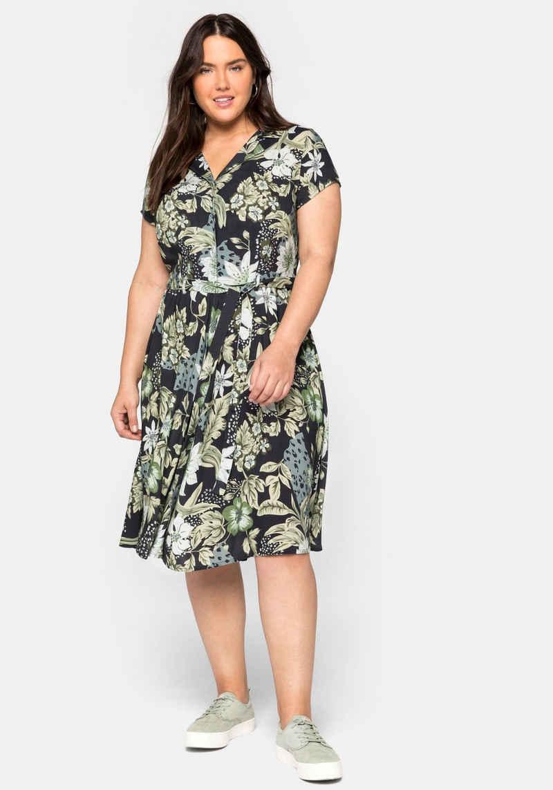 sheego by Joe Browns Sommerkleid mit Blumendruck und Bindegürtel